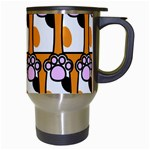 Cute Cat Hand Orange Travel Mugs (White) Right