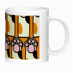 Cute Cat Hand Orange Night Luminous Mugs Right
