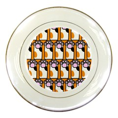 Cute Cat Hand Orange Porcelain Plates