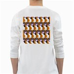 Cute Cat Hand Orange White Long Sleeve T-Shirts Back