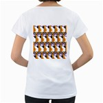 Cute Cat Hand Orange Women s Loose-Fit T-Shirt (White) Back