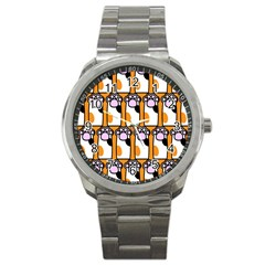 Cute Cat Hand Orange Sport Metal Watch