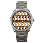 Cute Cat Hand Orange Sport Metal Watch Front