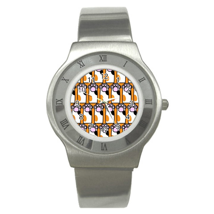 Cute Cat Hand Orange Stainless Steel Watch
