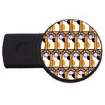 Cute Cat Hand Orange USB Flash Drive Round (4 GB)  Front