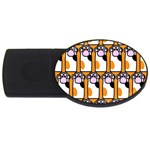 Cute Cat Hand Orange USB Flash Drive Oval (4 GB)  Front