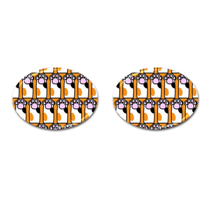 Cute Cat Hand Orange Cufflinks (Oval)