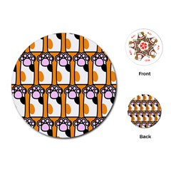 Cute Cat Hand Orange Playing Cards (Round)