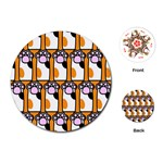 Cute Cat Hand Orange Playing Cards (Round)  Front
