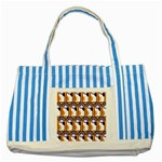 Cute Cat Hand Orange Striped Blue Tote Bag Front