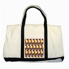 Cute Cat Hand Orange Two Tone Tote Bag