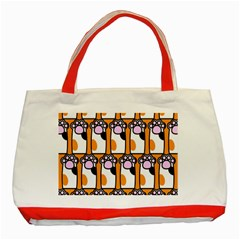 Cute Cat Hand Orange Classic Tote Bag (red)