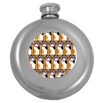 Cute Cat Hand Orange Round Hip Flask (5 oz) Front