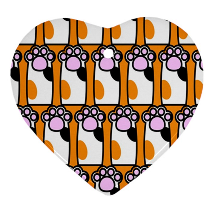 Cute Cat Hand Orange Heart Ornament (2 Sides)