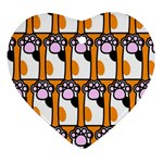 Cute Cat Hand Orange Heart Ornament (2 Sides) Back