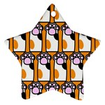 Cute Cat Hand Orange Star Ornament (Two Sides)  Back