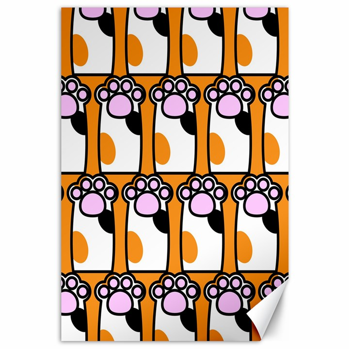 Cute Cat Hand Orange Canvas 12  x 18