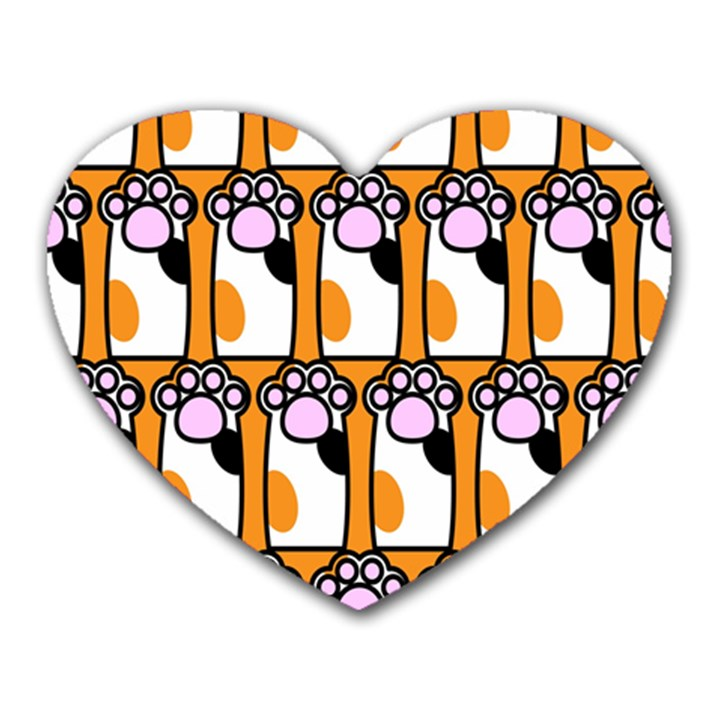 Cute Cat Hand Orange Heart Mousepads