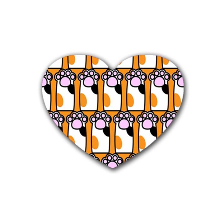 Cute Cat Hand Orange Rubber Coaster (Heart)