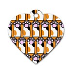Cute Cat Hand Orange Dog Tag Heart (One Side) Front
