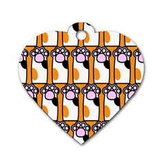 Cute Cat Hand Orange Dog Tag Heart (two Sides)