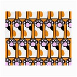 Cute Cat Hand Orange Small Glasses Cloth (2-Side) Front