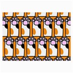 Cute Cat Hand Orange Large Glasses Cloth (2-Side) Back