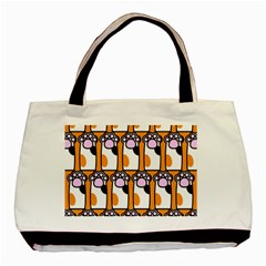 Cute Cat Hand Orange Basic Tote Bag (Two Sides)