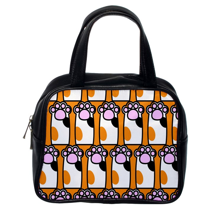 Cute Cat Hand Orange Classic Handbags (One Side)