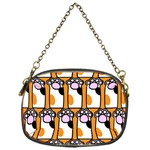 Cute Cat Hand Orange Chain Purses (One Side)  Front