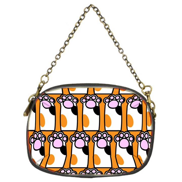 Cute Cat Hand Orange Chain Purses (One Side)