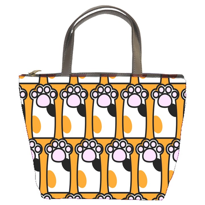 Cute Cat Hand Orange Bucket Bags