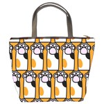 Cute Cat Hand Orange Bucket Bags Back