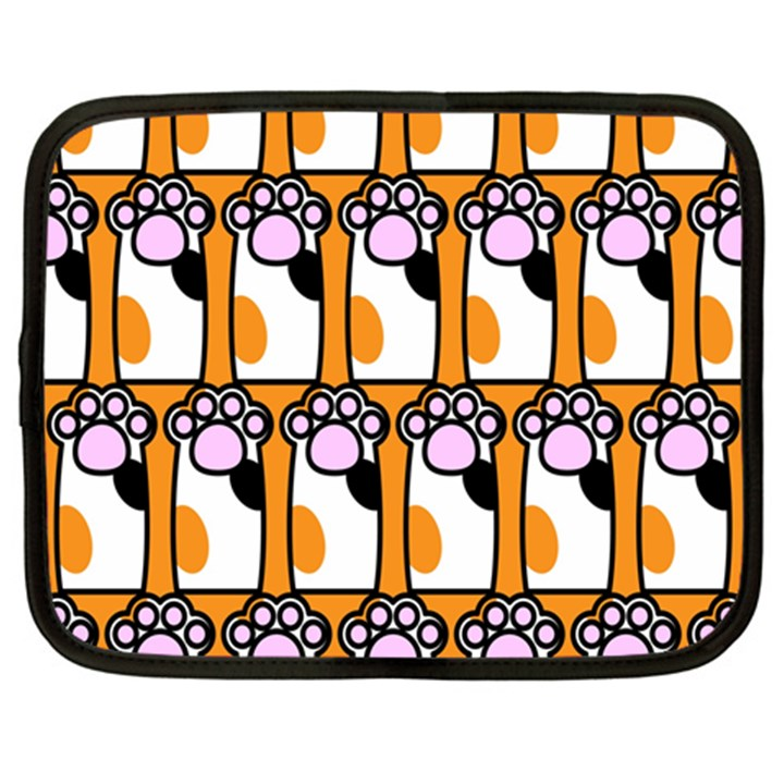 Cute Cat Hand Orange Netbook Case (XL)