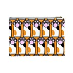 Cute Cat Hand Orange Cosmetic Bag (Large)  Back