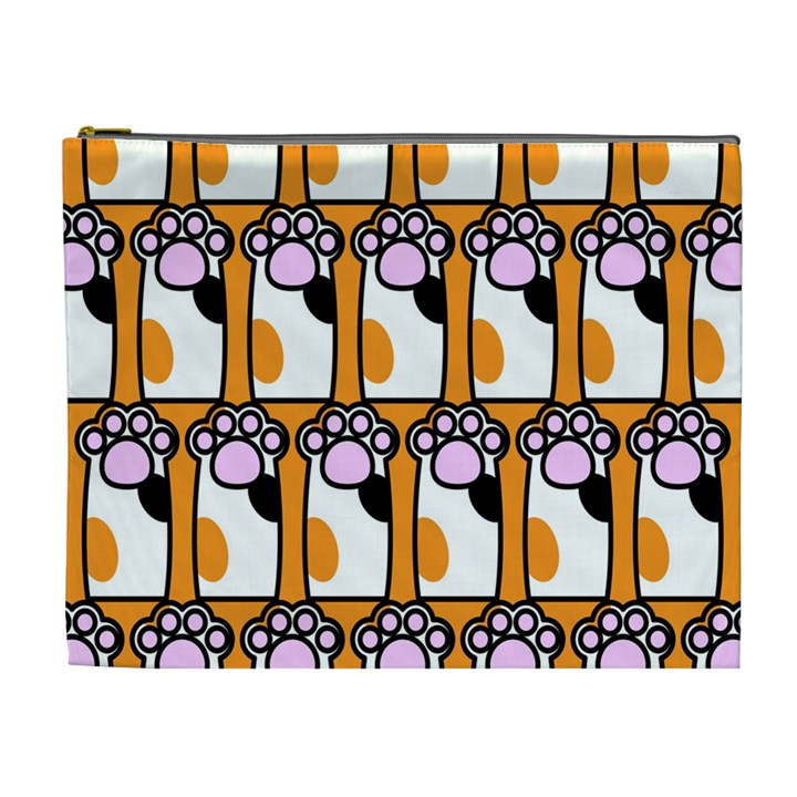 Cute Cat Hand Orange Cosmetic Bag (XL)