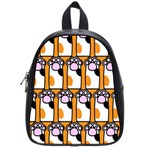Cute Cat Hand Orange School Bags (Small)  Front