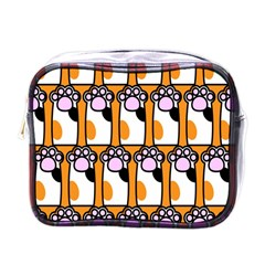 Cute Cat Hand Orange Mini Toiletries Bags