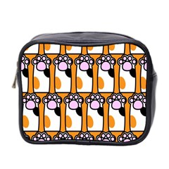 Cute Cat Hand Orange Mini Toiletries Bag 2-Side