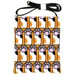 Cute Cat Hand Orange Shoulder Sling Bags Front