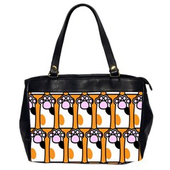 Cute Cat Hand Orange Office Handbags (2 Sides)