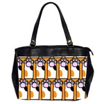 Cute Cat Hand Orange Office Handbags (2 Sides)  Front