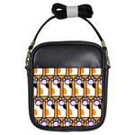 Cute Cat Hand Orange Girls Sling Bags Front
