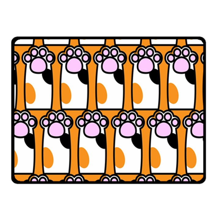 Cute Cat Hand Orange Fleece Blanket (Small)