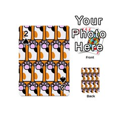 Cute Cat Hand Orange Playing Cards 54 (Mini)