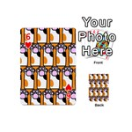 Cute Cat Hand Orange Playing Cards 54 (Mini)  Front - Heart6