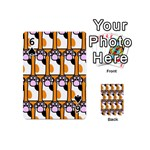 Cute Cat Hand Orange Playing Cards 54 (Mini)  Front - Spade6
