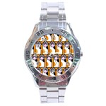 Cute Cat Hand Orange Stainless Steel Analogue Watch Front