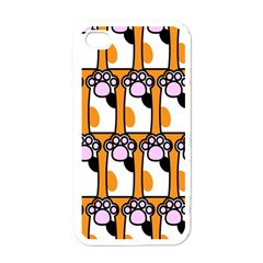 Cute Cat Hand Orange Apple iPhone 4 Case (White)