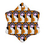 Cute Cat Hand Orange Snowflake Ornament (2-Side) Back